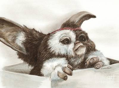 Drawing - Outta The Box - Gizmo  by Meagan  Visser