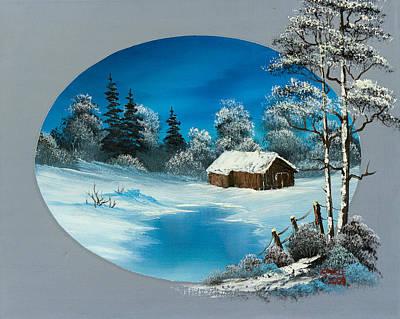 Steele Painting - Snowy Barn by C Steele
