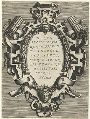 Oval Cartouche With A Quote From Valerius Maximus Print by Frans Huys And Hans Vredeman De Vries And Gerard De Jode