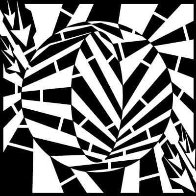 Oval Circle Distortion Maze  Art Print by Yonatan Frimer Maze Artist