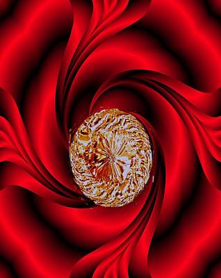 Digital Art - Oval Diamond In Red Satin by Marian Hebert
