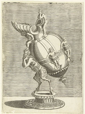 Bos Bos Drawing - Oval Jug, Balthazar Van Den Bos, Cornelis Floris II by Balthazar Van Den Bos And Cornelis Floris (ii) And Hieronymus Cock