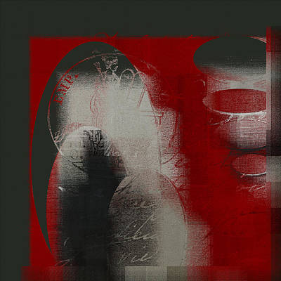 Red Abstracts Digital Art - Ovalio - J097121706 by Variance Collections
