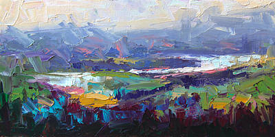 Crystalline Painting - Overlook Abstract Landscape by Talya Johnson