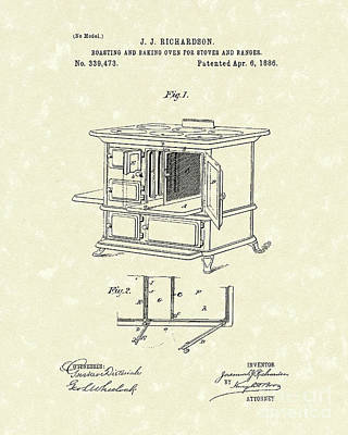 Drawing - Oven 1886 Patent Art by Prior Art Design