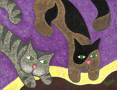 Painting - Over Cover Cats by Carol Neal