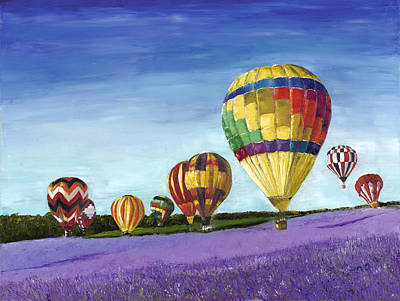 Soaring Painting - Over Fields Of Lavender by Maria Gibbs
