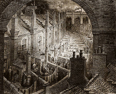 Slums Drawing - Over London by Gustave Dore