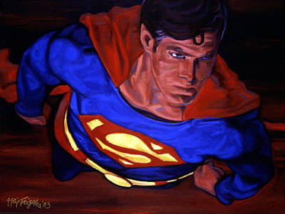 Superman Painting - Over Metropolis by Neil Feigeles