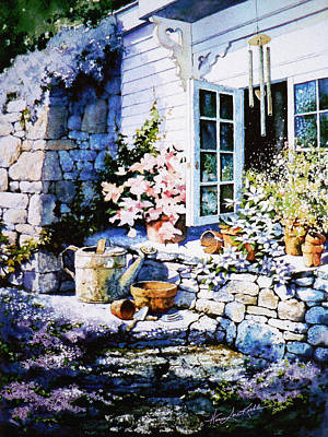 Shed Painting - Over Sleepy Garden Walls by Hanne Lore Koehler