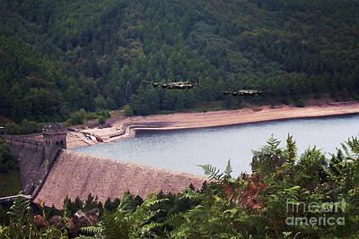Derwent Dam Digital Art - Over The Dam by J Biggadike