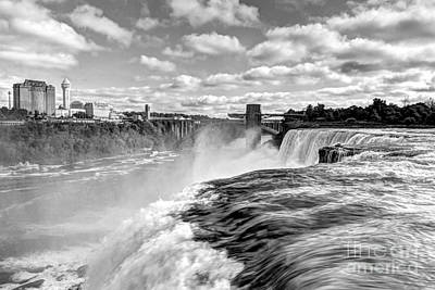 White And Black Waterfalls Photograph - Over The Edge 1 Bw by Mel Steinhauer