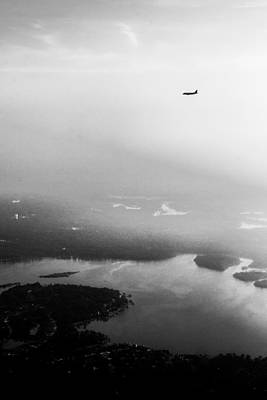 Airlines Photograph - Over The Lake - Black And White by Shelby  Young