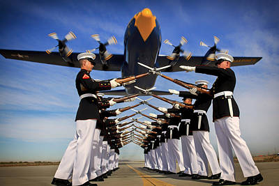 Over The Marine Corps Silent Drill Platoon Art Print by Mountain Dreams