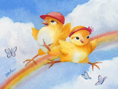Painting - Baby Chicks - Over The Rainbow by Janet Zeh