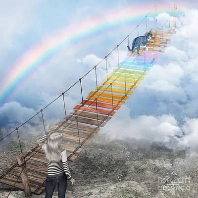 Fine Art Cat Digital Art - Over The Rainbow Bridge by Jutta Maria Pusl