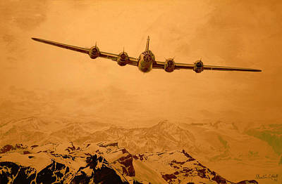 B29 Digital Art - Over The Top - Boeing B-29 Superfortress - Ps by Martin Hall