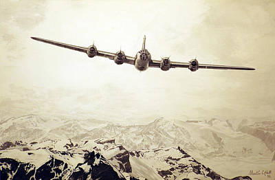 B29 Drawing - Over The Top - Boeing B-29 Superfortress by Martin Hall