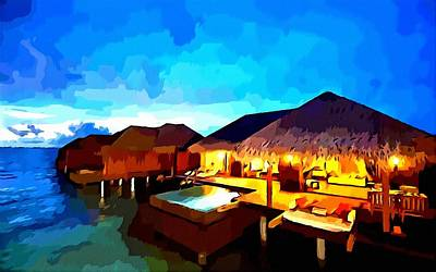 Over Water Bungalows Art Print