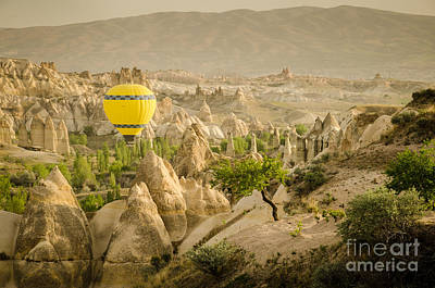 Balloon Over White Valley - Cappadocia Turkey Art Print by OUAP Photography