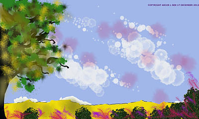 Painting - Over Yonder Hill There Be Tranquillity by Arjun L Sen