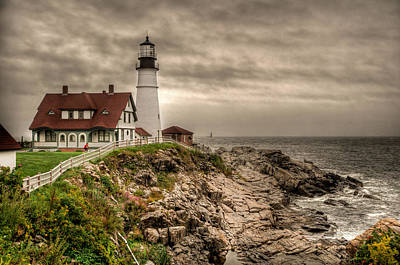 Photograph - Overcast Day At The Portland Head Light by At Lands End Photography