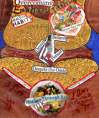 Healthy Eating Mixed Media - Overcoming by Phyllis Anne Taylor Pannet Art Studio
