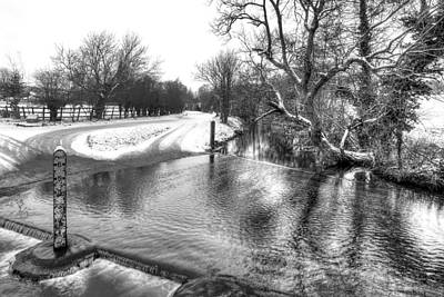 Overflowing River In Black And White Art Print by Gill Billington