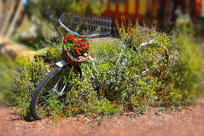 Baskets Digital Art - Overgrown Bicycle With Flowers by Mike McGlothlen