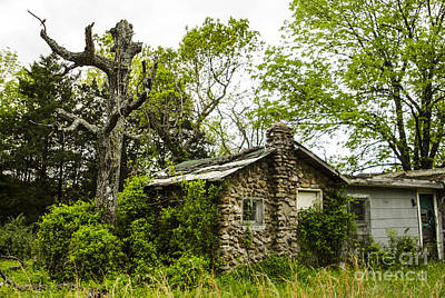Photograph - Overgrown Stone Cottage Route 66 Hazelgreen Missouri by Deborah Smolinske
