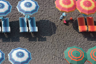 Photograph - Overhead Of Beach Umbrellas And by Karl Blackwell