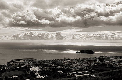 Photograph - Overhead View Of Coastal Village With Fluffy Clouds  by Joseph Amaral