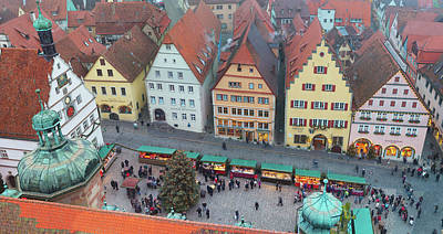 Overhead View Of The Christmas Market Art Print