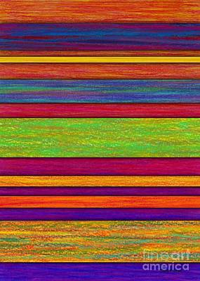 Colored Pencil Abstract Painting - Overlay Stripes by David K Small