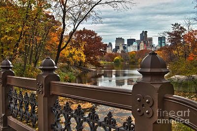 Overlooking The Lake Central Park New York City Art Print