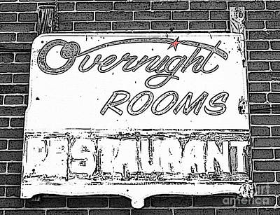 Photograph - Overnight Rooms Sign by Nina Silver