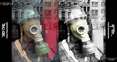 Photograph - Overprinted Gas Mask by Stwayne Keubrick