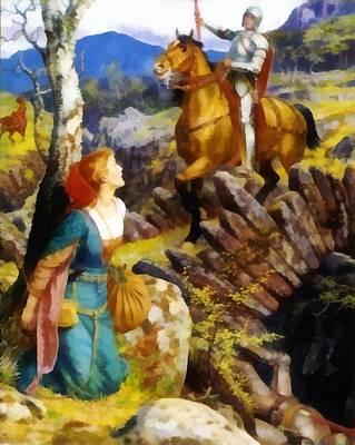 Damsel In Distress Digital Art - Overthrowing Of The Rusty Knight  by Arthur Hughes