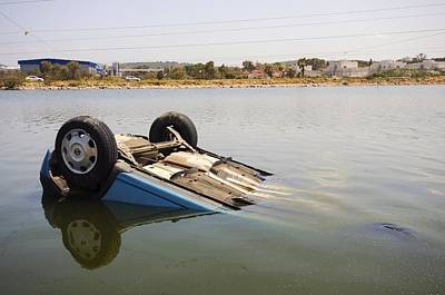 Drunk Driving Photograph - Overturned Car by Science Photo Library