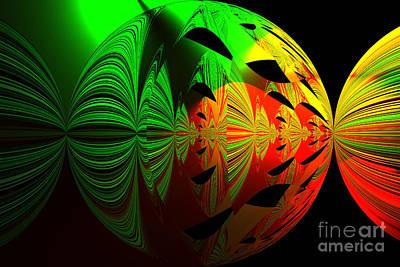 Photograph - Art. Unigue Design.  Abstract Green Red And Black by Oksana Semenchenko