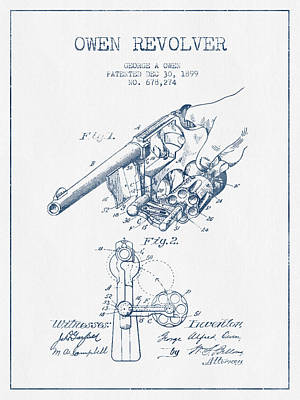 Small Digital Art - Owen Revolver Patent Drawing From 1899 -  Blue Ink by Aged Pixel