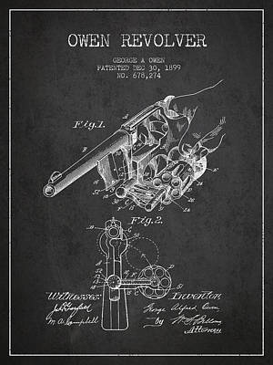 Owen Revolver Patent Drawing From 1899- Dark Art Print by Aged Pixel