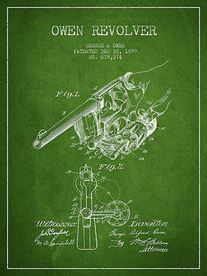 Owen Revolver Patent Drawing From 1899- Green Art Print by Aged Pixel
