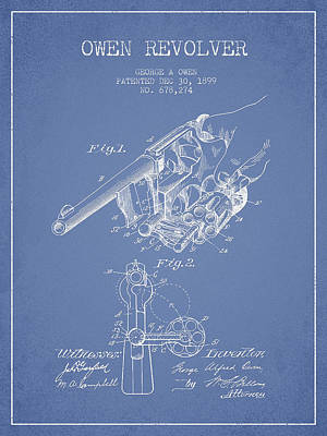 Owen Revolver Patent Drawing From 1899- Light Blue Art Print by Aged Pixel