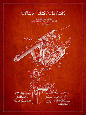 Owen Revolver Patent Drawing From 1899- Red Art Print by Aged Pixel