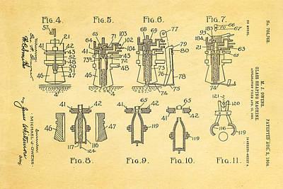 Owens Glass Shaping Machine Patent Art 1904 Art Print by Ian Monk