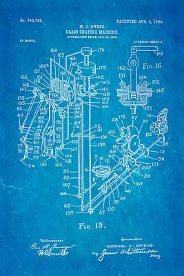 Owens Glass Shaping Machine Patent Art 2 1904 Blueprint Art Print by Ian Monk