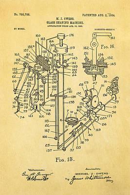Owens Glass Shaping Machine Patent Art 2 1904 Print by Ian Monk