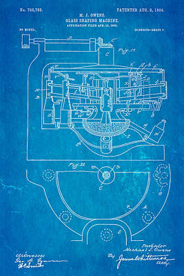 Owens Glass Shaping Machine Patent Art 3 1904 Blueprint Art Print by Ian Monk