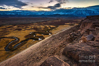 Owens River Floodplain At Sunset - Bishop - California Art Print